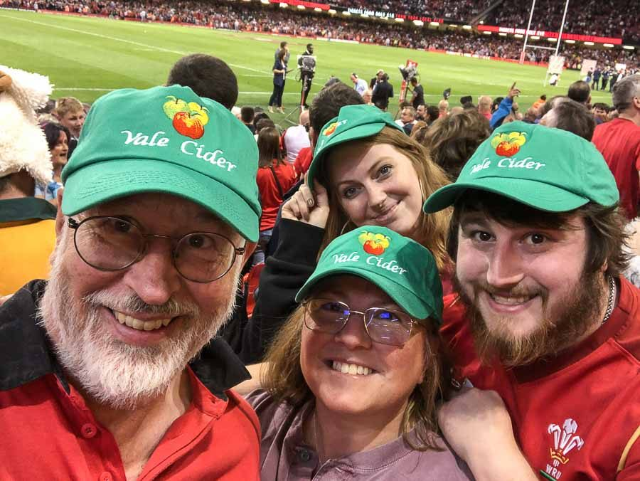 Vale Cider family team at Principality Stadium when Wales beat England, 2019