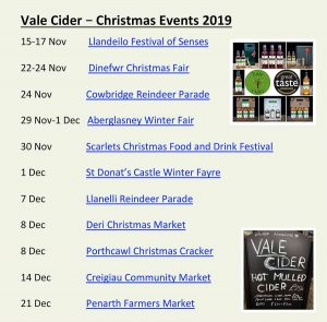 list of events to be attended by Vale Cider