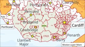 Delivery area map for Vale Cider
