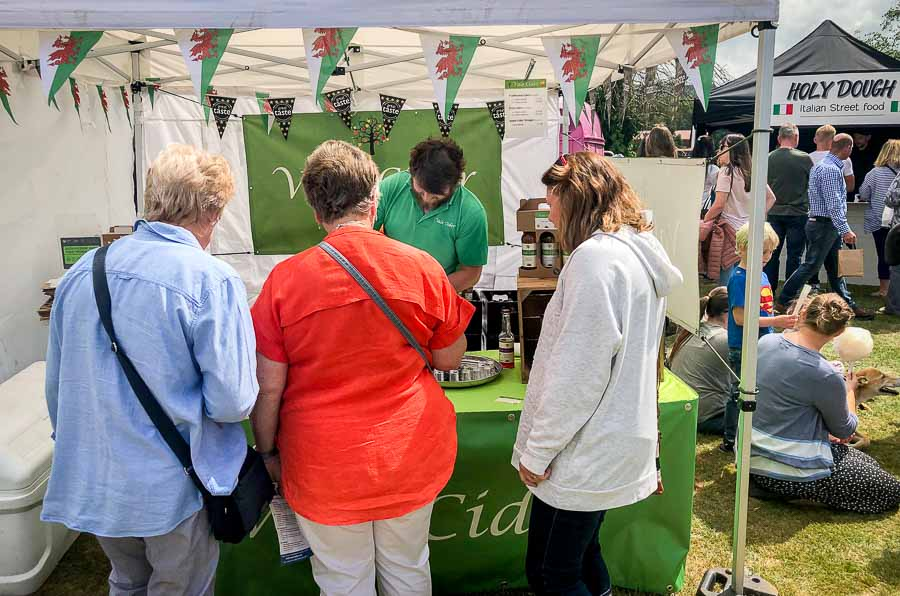 Serving on stall at Lampeter Food Festival