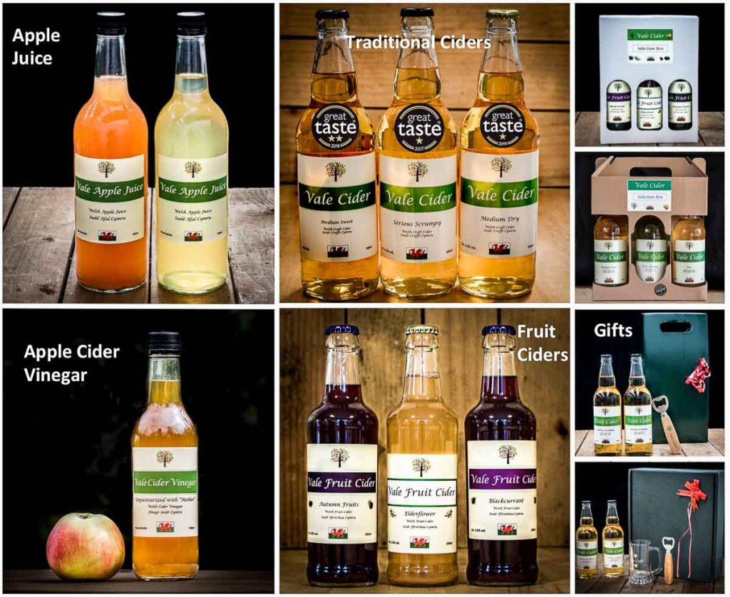 Vale Cider Product range: tradiontla and fruit ciders, apple juice, cider vinegar, gifts