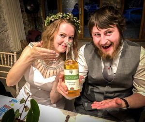 Vale Cider with bride and groom