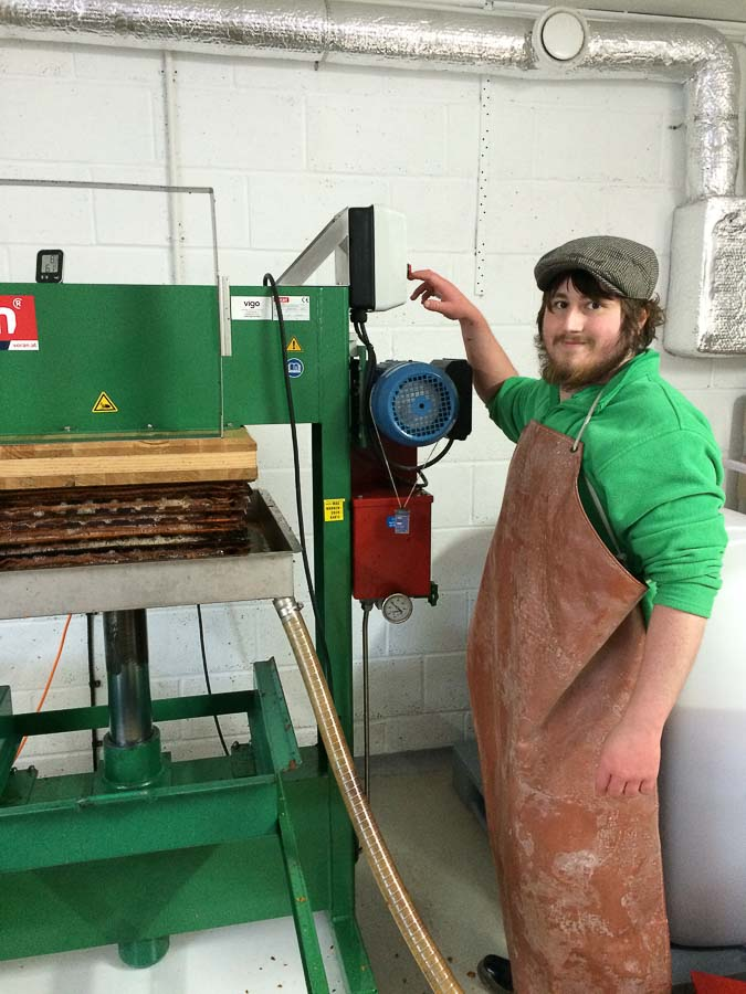 Operating the cider press