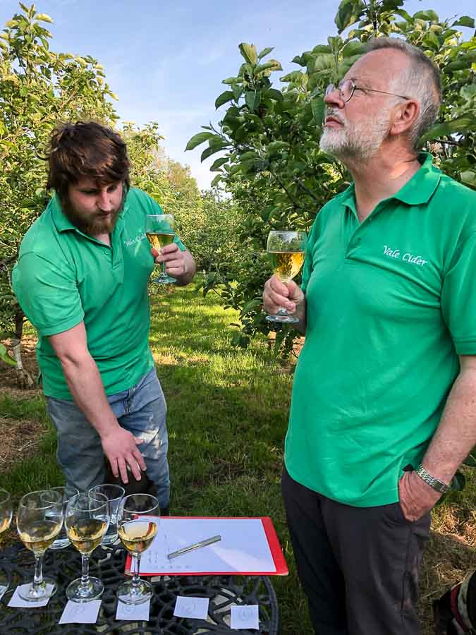 Cider tasting in the orchard