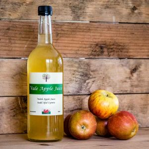 Bottle of Vale Apple Juice with apples