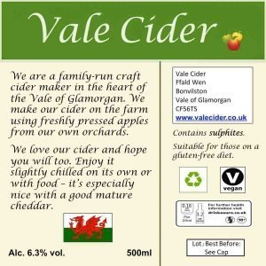 Back label for 500ml bottle of Traditional Vale Cider