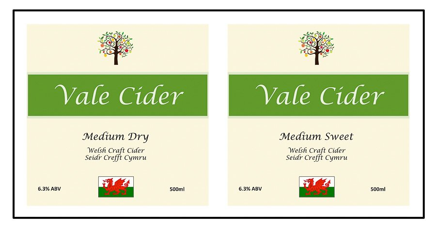 Vale Cider Labels Medium Dry and Medium Sweet