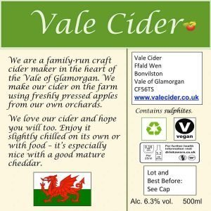 Bottle back label for Serious Scrumpy Vale Cider