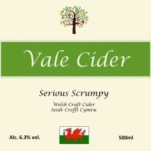 Front label for Serious Scrumpy Vale Cider