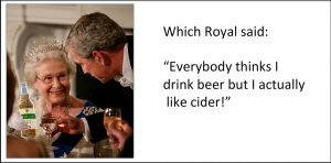Spoof picture of Queen drinking Vale Cider