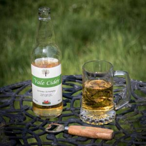Bottle of Serious Scrumpy Vale Cider with Tankard and Opener on a garden table