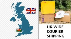 map of UK and picture of shipping boxes