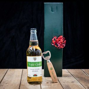 Gift box, bottle of serious scrumpy and opener
