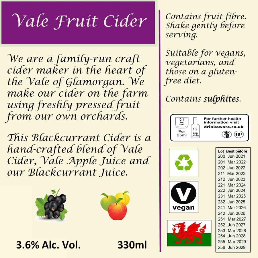 Back Label Blackcurrant Vale Fruit Cider