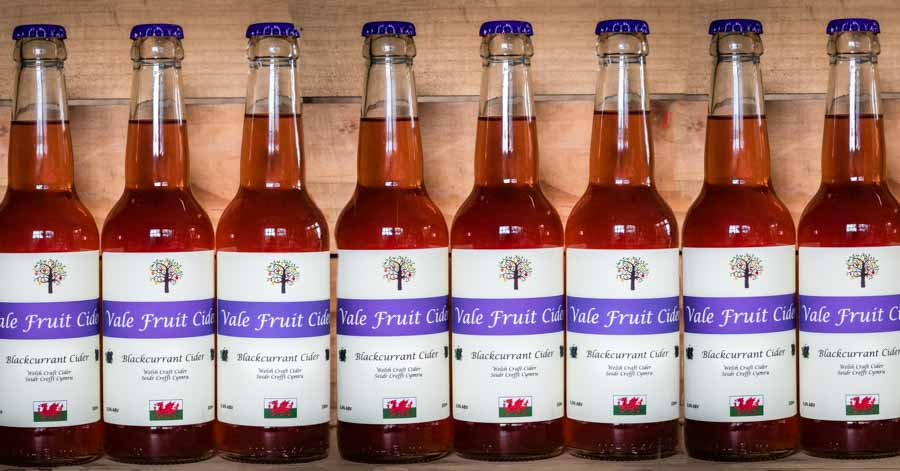 row of bottles of Blackcurrant Vale Fruit Cider
