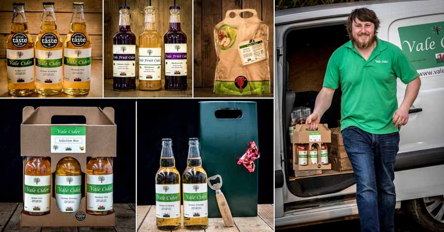 Collage showing Vale Cider products and delivery