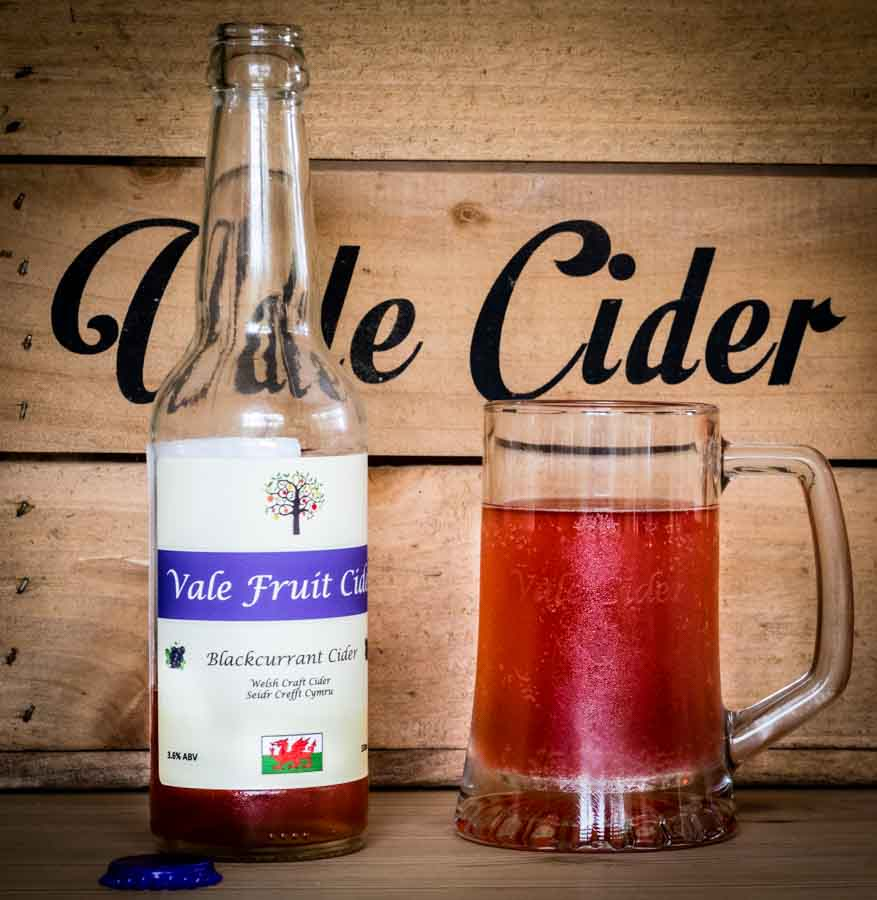 Tankard and bottle of Blackcurrant Cider
