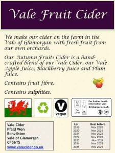 Back label of Autumn Fruits Vale Fruit Cider