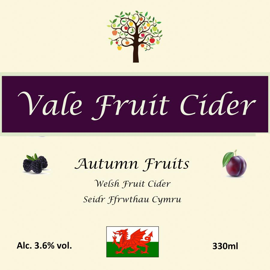 Front label of bottle of Autumn Fruits cider