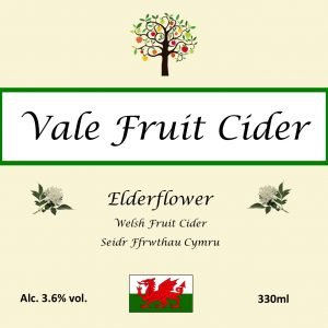 Front label of Elderflower Cider Vale Fruits Cider