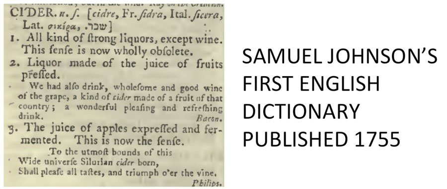 Extract from cider definition in Samual Johnson's dictionary