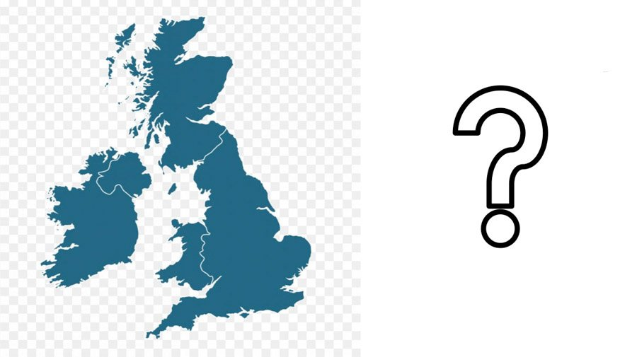 Map of UK with question mark