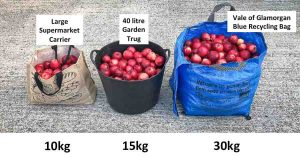 Bags of various sizes showing weight of apples they contain