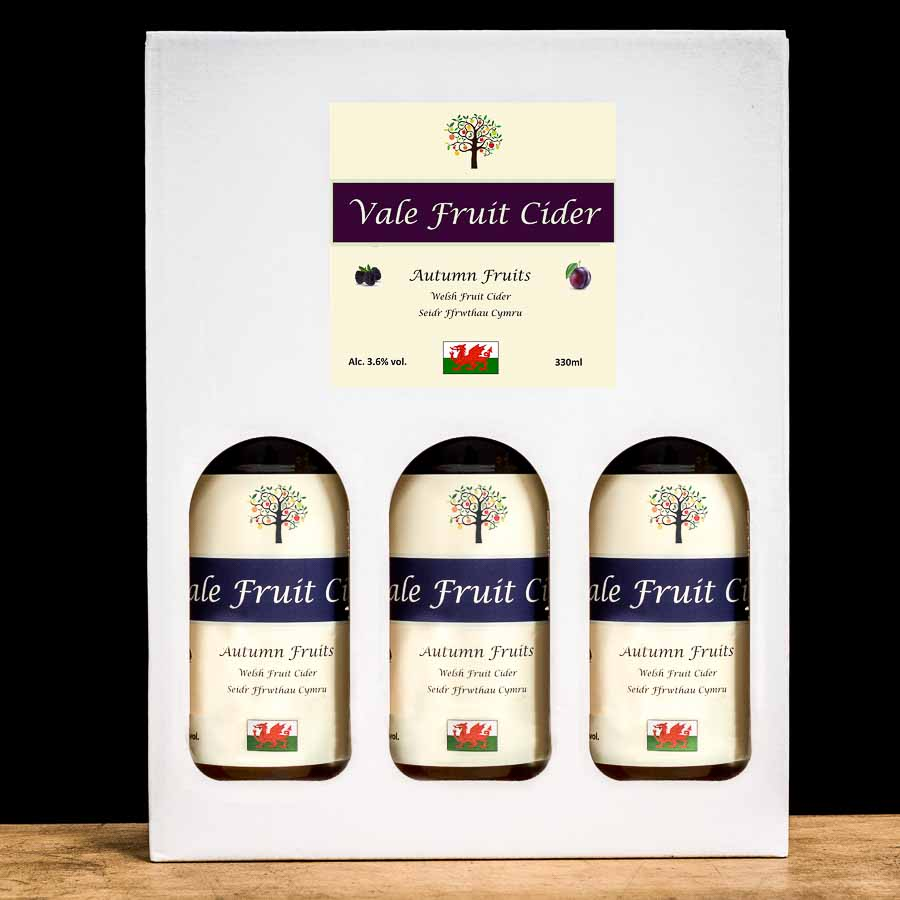 gift box with 3 bottles of autumn fruits cider