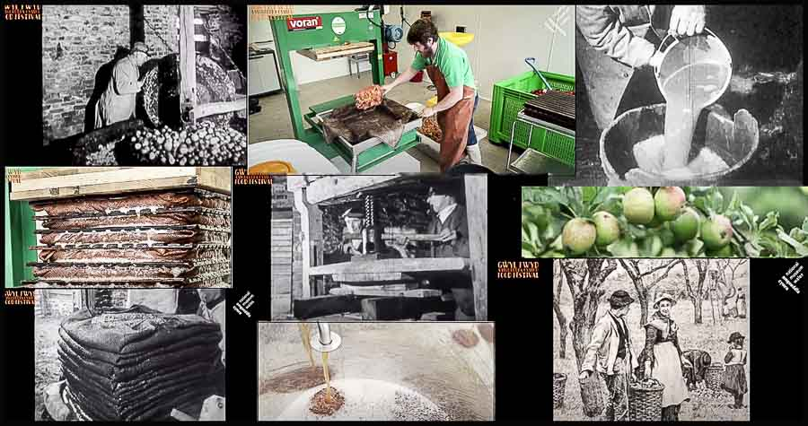 collage of old and new images of cider making in wales