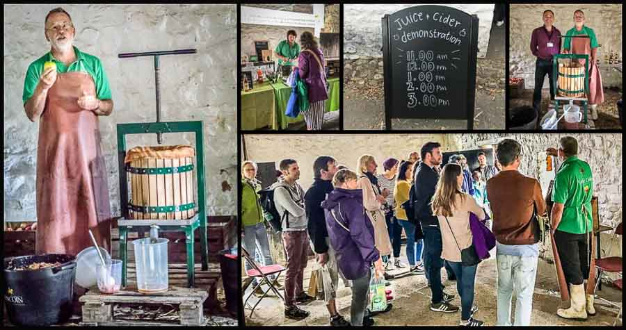 collage of times about apple pressing and cider-making