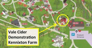 map showing location of apple pressing and cider making demonstration at St Fagans Food Festival