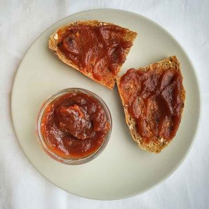 Apple butter spread on bread