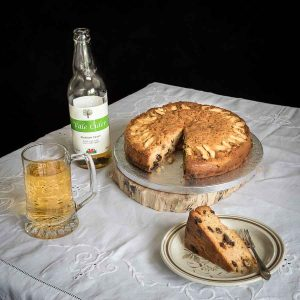 cake with glass of cider
