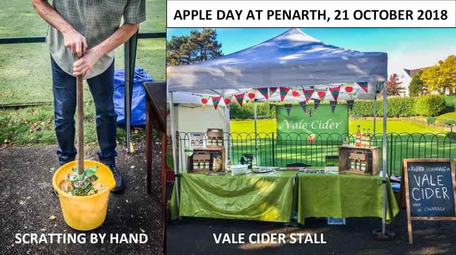 a cider stall and practical demonstration at an apple day