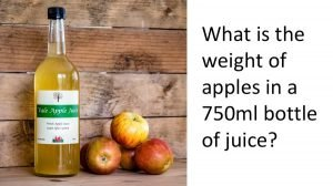 bottle of apple juice with apples