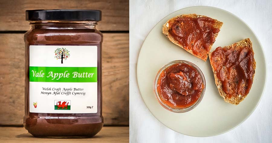 jar of apple butter and serving suggestion
