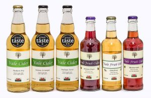 row od bottles of cider