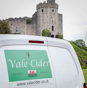 castle and delivery van