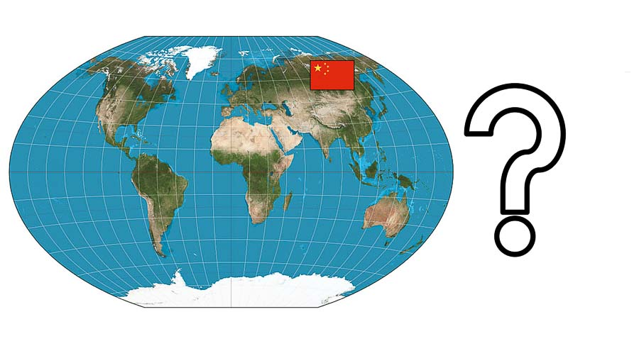 map of world with China marked