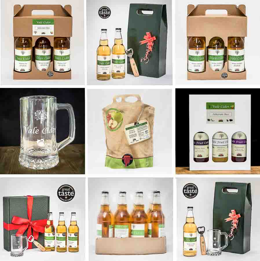 collage of cider gifts